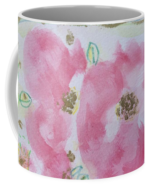 Rose Late Summer Colors Pink Coffee Mug featuring the painting Late Summer Rose II by Aase Birkhaug