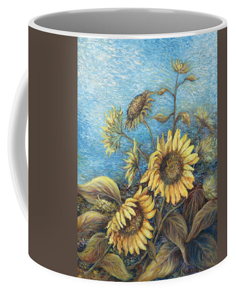 Sunflowers Coffee Mug featuring the painting Late Sunflowers by Valerie Meotti