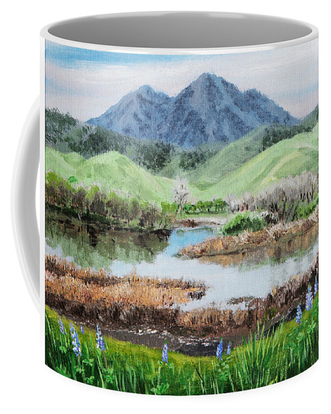 Nature Coffee Mug featuring the painting Late Winter In California by Masha Batkova