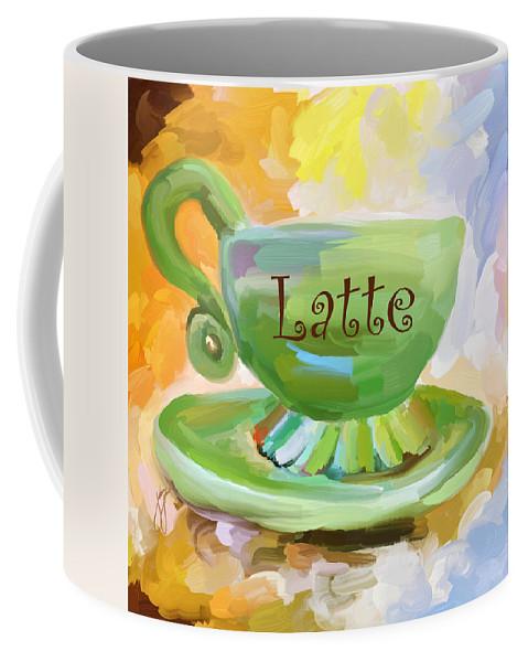 Coffee Coffee Mug featuring the painting Latte Coffee Cup by Jai Johnson