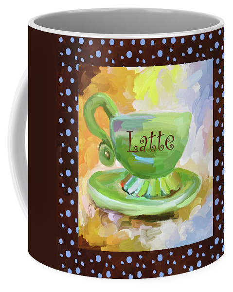 Coffee Coffee Mug featuring the painting Latte Coffee Cup With Blue Dots by Jai Johnson
