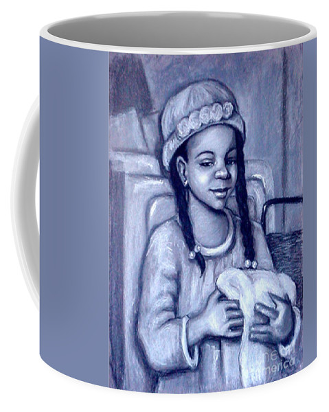 Black And White Coffee Mug featuring the pastel Laundry Day by Beverly Boulet