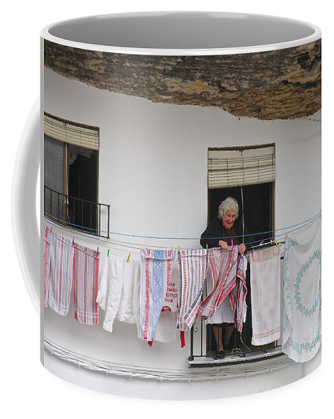 Spain Andalucia Region Laundry Line Coffee Mug featuring the photograph Laundry Day by Suzanne Oesterling