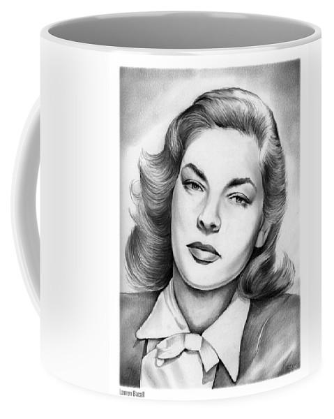 Lauren Bacall Coffee Mug featuring the drawing Lauren Bacall by Greg Joens
