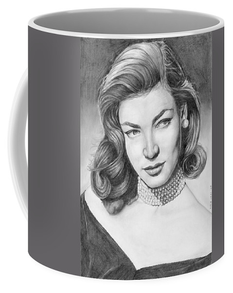 Actress Coffee Mug featuring the drawing Lauren Bacall by Rob De Vries