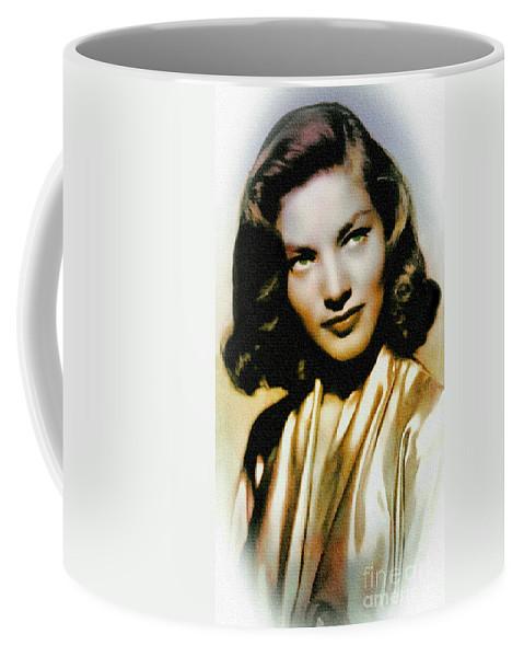 Lauren Bacall Coffee Mug featuring the painting Lauren Bacall - Vintage Painting by Ian Gledhill