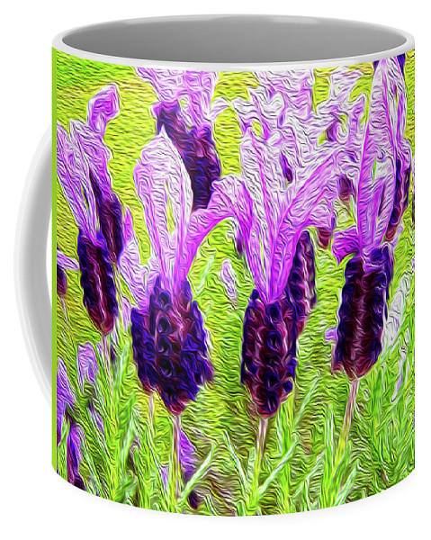 Plant Coffee Mug featuring the digital art Lavender Abstract by Les Cunliffe