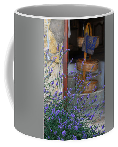 Provence Coffee Mug featuring the photograph Lavender Blooming Near Stairway by Anne Keiser
