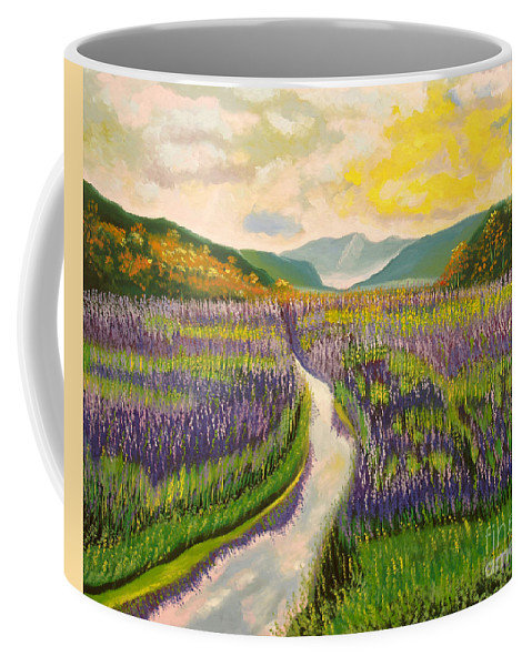 Landscapes Coffee Mug featuring the painting Lavender Brook by Milagros Palmieri