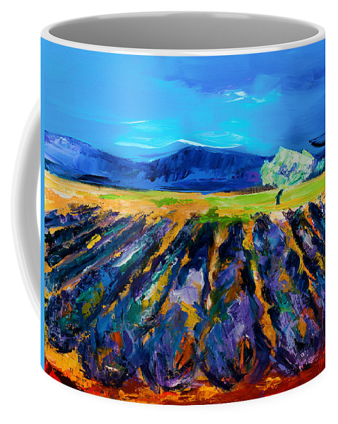 Lavender Coffee Mug featuring the painting Lavender Field by Elise Palmigiani
