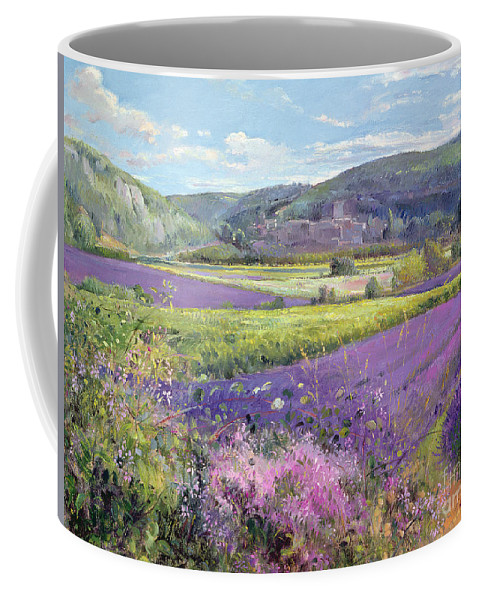 Field; South Of France; French Landscape; Hills; Hill; Landscape; Flower; Flowers; Field; Tree; Trees; Bush; Bushes; France; Provence Coffee Mug featuring the painting Lavender Fields In Old Provence by Timothy Easton