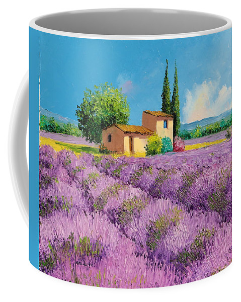 Oil Coffee Mug featuring the painting Lavender Fields In Provence by Jean-Marc JANIACZYK