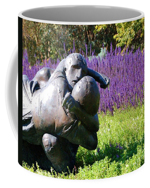 Statue Coffee Mug featuring the photograph Lavender Lovers by Debbi Granruth