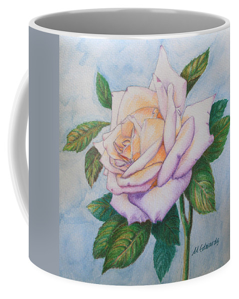 Rose Coffee Mug featuring the drawing Lavender Rose by Marna Edwards Flavell