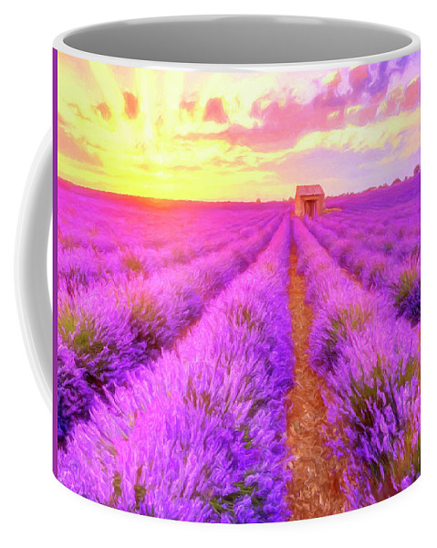 Lavender Coffee Mug featuring the painting Lavender Sunrise by Dominic Piperata