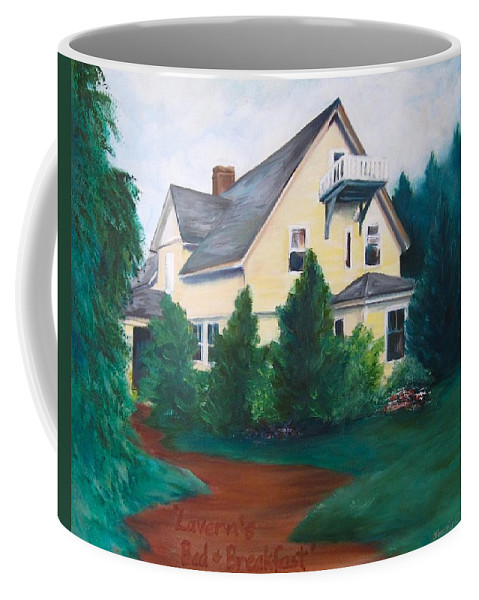 Landscape Coffee Mug featuring the painting Lavern's Bed and Breakfast by Jennifer Christenson
