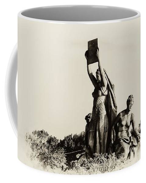 Philadelphia Coffee Mug featuring the photograph Law Prosperity And Power In Black And White by Bill Cannon