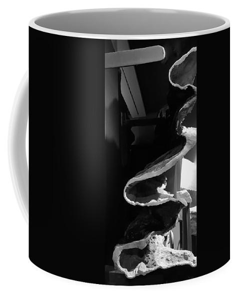 Rock Coffee Mug featuring the photograph Layered Rock B W by Rob Hans
