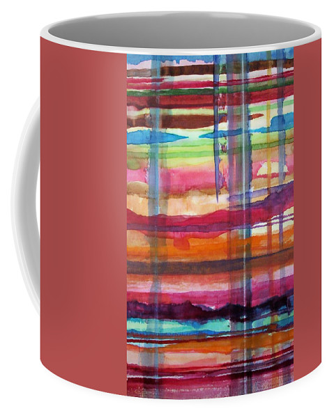 Abstract Coffee Mug featuring the painting Layered by Suzanne Udell Levinger