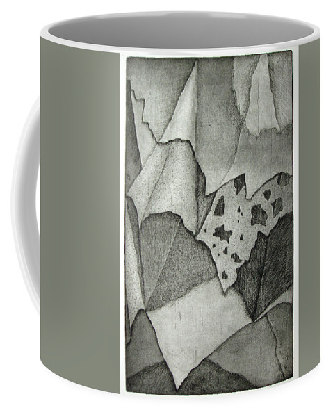Etching Coffee Mug featuring the drawing Layers by Nancy Mueller