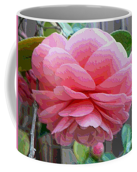 Pink Camellia Coffee Mug featuring the photograph Layers Of Pink Camellia - Digital Art by Carol Groenen