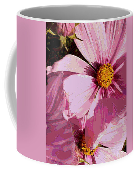 Pink Coffee Mug featuring the photograph Layers Of Pink Cosmos - Digital Art by Carol Groenen
