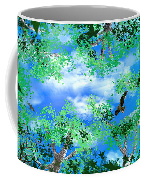 Skyscape Coffee Mug featuring the digital art Laying On A Hammock by Steve Karol