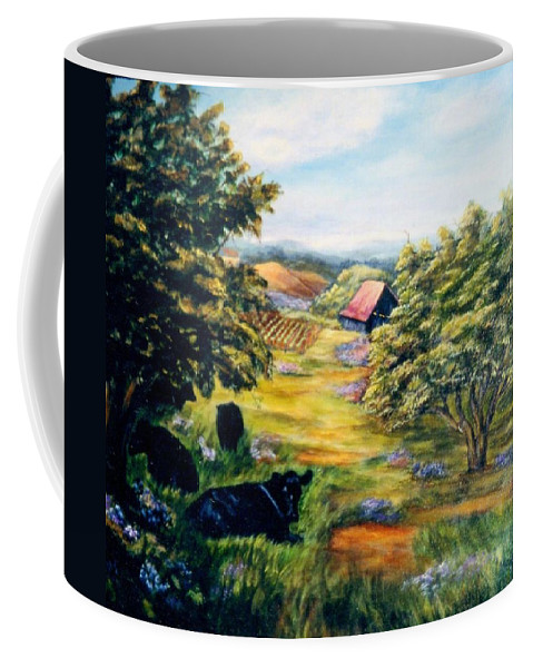 Cows Coffee Mug featuring the painting Lazy Day by Gail Kirtz