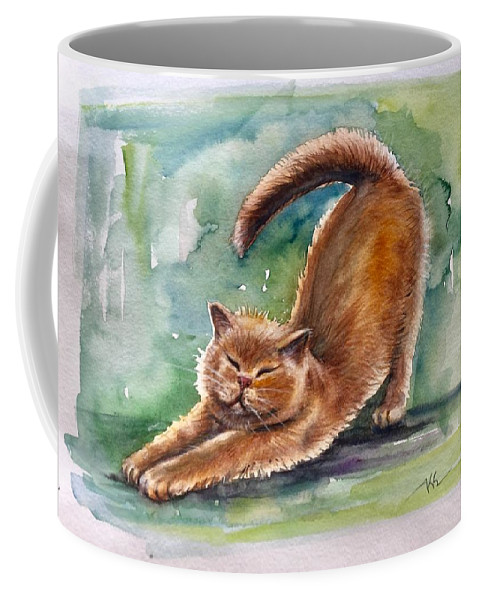 A Cat Coffee Mug featuring the painting Lazy Day by Katerina Kovatcheva