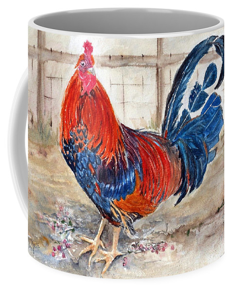 Chantecler Rooster Coffee Mug featuring the painting Le Chantecler- King Of The Roost by Anna Jacke