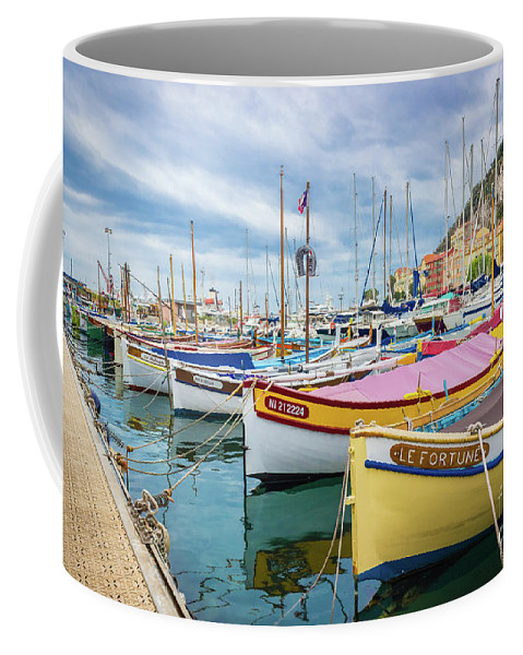 Castle Hill Coffee Mug featuring the photograph Le Fortune At Nice Harbor, France by Liesl Walsh