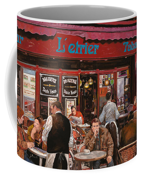 Brasserie Coffee Mug featuring the painting Le Mani In Bocca by Guido Borelli