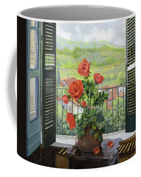 Landscape Coffee Mug featuring the painting Le Persiane Sulla Valle by Guido Borelli