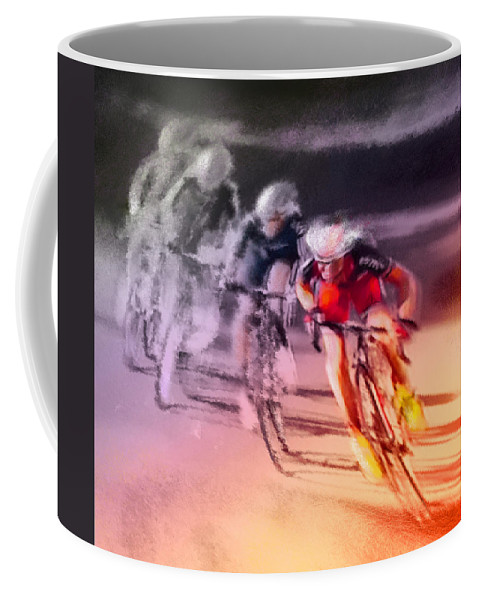Sports Coffee Mug featuring the painting Le Tour De France 13 by Miki De Goodaboom