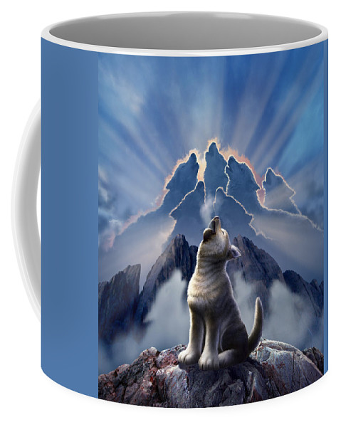 Wolf Coffee Mug featuring the digital art Leader Of The Pack by Jerry LoFaro