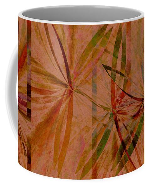 Abstract Coffee Mug featuring the digital art Leaf Dance by Ruth Palmer