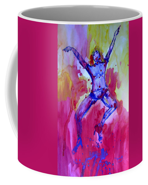 Red Coffee Mug featuring the painting Leap Of Faith by Donna Blackhall