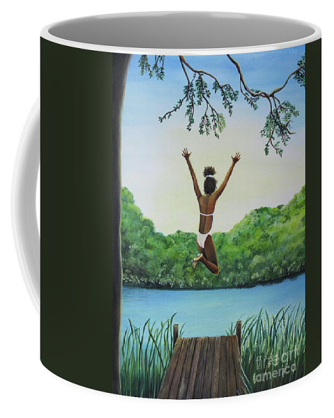 Summer Vacation Coffee Mug featuring the painting Leap Of Faith by Kris Crollard