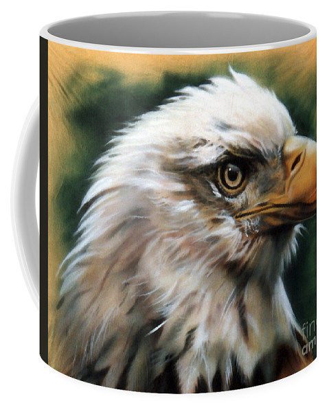 Southwest Art Coffee Mug featuring the painting Leather Eagle by J W Baker