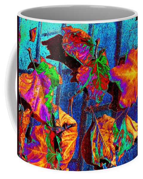 Leaves Coffee Mug featuring the photograph Leaves On Bricks by Tim Allen