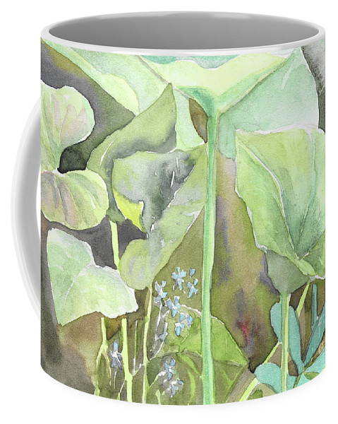 Leaves Coffee Mug featuring the painting Leaves by Yana Sadykova