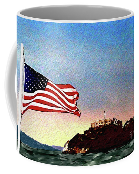 Leaving Alcatraz Coffee Mug featuring the painting Leaving Alcatraz by Methune Hively