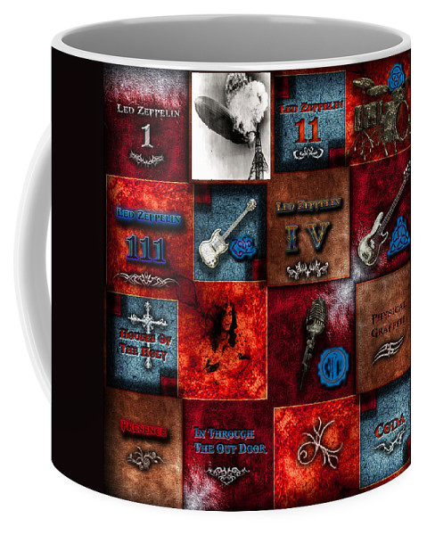 Led Zeppelin Coffee Mug featuring the digital art Led Zeppelin Discography by Michael Damiani