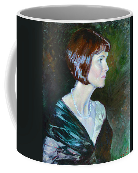 Portrait Coffee Mug featuring the painting Ledy In Green by Ylli Haruni