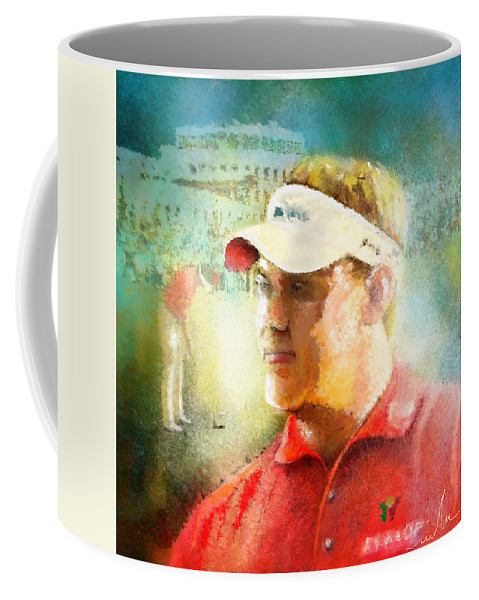 Golf Coffee Mug featuring the painting Lee Westwood Winning The Portugal Masters 2009 by Miki De Goodaboom