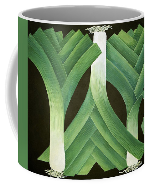 Leek Coffee Mug featuring the painting Leeks by Jennifer Abbot
