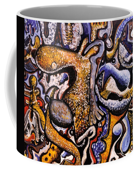 Abstract Coffee Mug featuring the painting Left To Contemplate by Mbonu Emerem