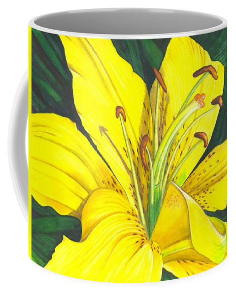 Lily Coffee Mug featuring the painting Lemon Lily by Catherine G McElroy