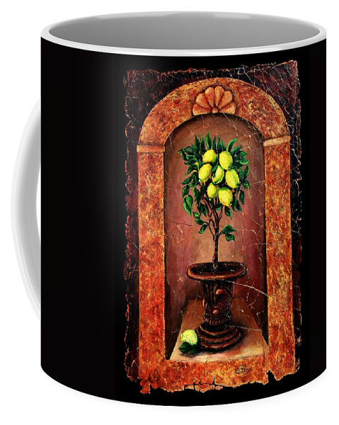 Fresco Antique Coffee Mug featuring the painting Lemon Tree by OLena Art Brand