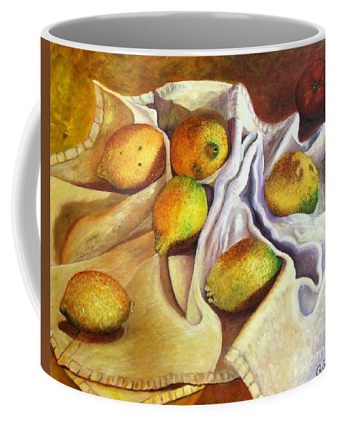 Still Life Coffee Mug featuring the painting Lemons And Linen by Caroline Street